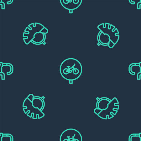 Set line Bicycle, helmet and handlebar on seamless pattern. Vector