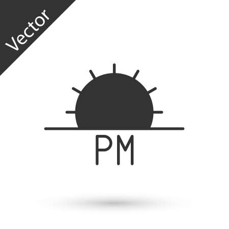Grey Sunset icon isolated on white background. Vector Illustration Иллюстрация