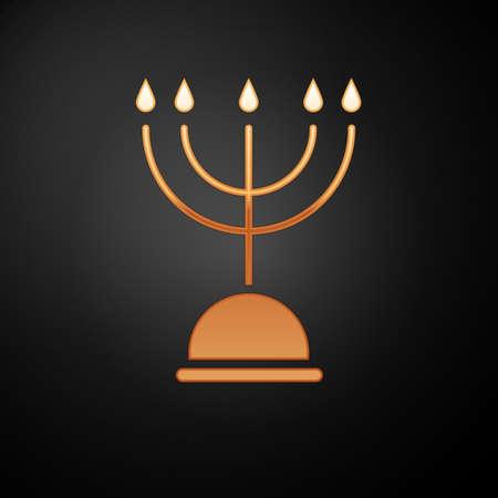 Gold Hanukkah menorah icon isolated on black background. Hanukkah traditional symbol. Holiday religion, jewish festival of Lights. Vector Illustration