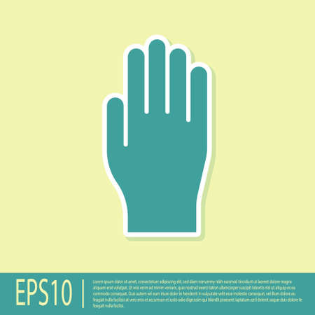 Green Medical rubber gloves icon isolated on yellow background. Protective rubber gloves. Vector Illustration