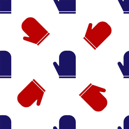 Blue and red Oven glove icon isolated seamless pattern on white background. Kitchen potholder sign. Cooking glove. Vector Illustration