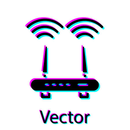 Black Router and wifi signal icon isolated on white background. Wireless internet modem router. Computer technology internet. Vector