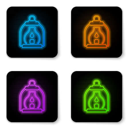 Glowing neon Camping lantern icon isolated on white background. Black square button. Vector Illusztráció