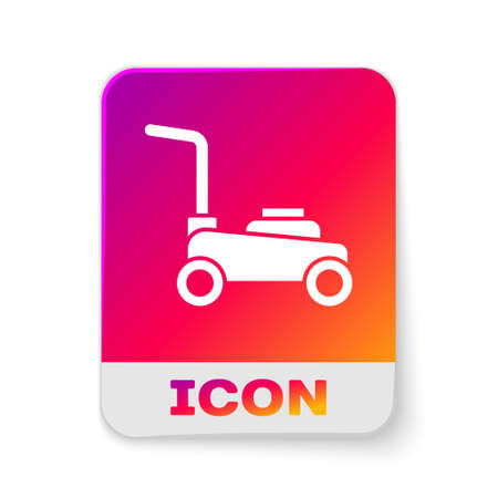 White Lawn mower icon isolated on white background. Lawn mower cutting grass. Rectangle color button. Vector 일러스트