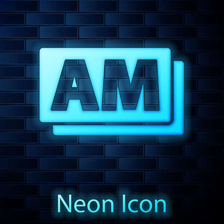 Glowing neon Clock AM icon isolated on brick wall background. Time symbol. Vector