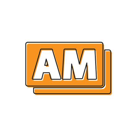 Orange Clock AM icon isolated on white background. Time symbol. Vector Ilustração
