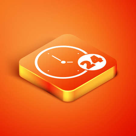 Isometric Clock 24 hours icon isolated on orange background. All day cyclic icon. 24 hours service symbol. Vector