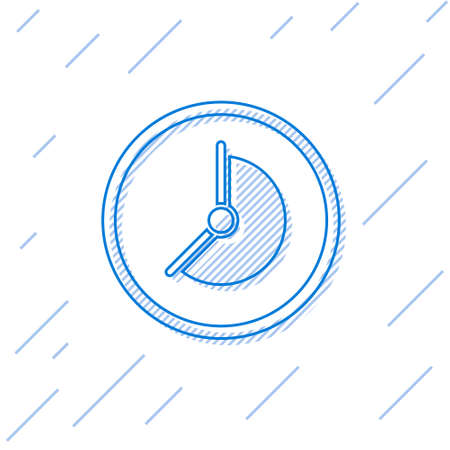 Blue line Clock icon isolated on white background. Time symbol. Vector