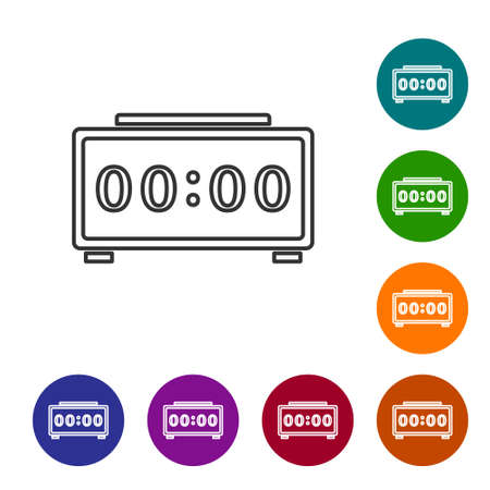 Black line Digital alarm clock icon isolated on white background. Electronic watch alarm clock. Time icon. Set icons in color circle buttons. Vector