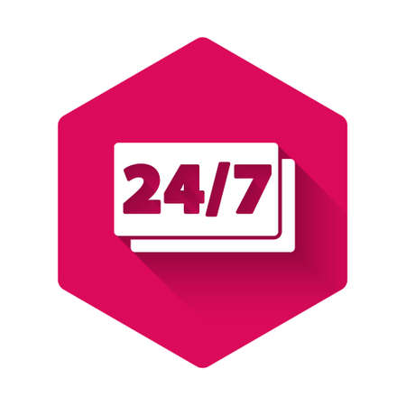 White Clock 24 hours icon isolated with long shadow. All day cyclic icon. 24 hours service symbol. Pink hexagon button. Vector Ilustração