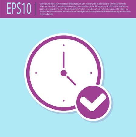 Retro purple Clock icon isolated on turquoise background. Time symbol. Vector Ilustração