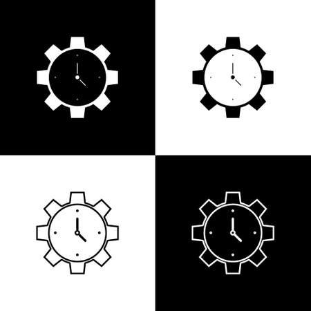 Set Time Management icon isolated on black and white background. Clock and gear sign. Productivity symbol. Vector