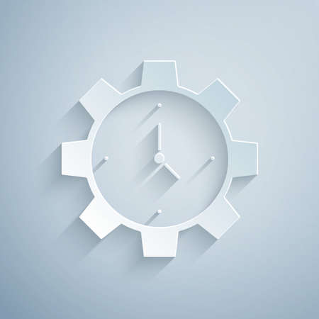 Paper cut Time Management icon isolated on grey background. Clock and gear sign. Productivity symbol. Paper art style. Vector Ilustração