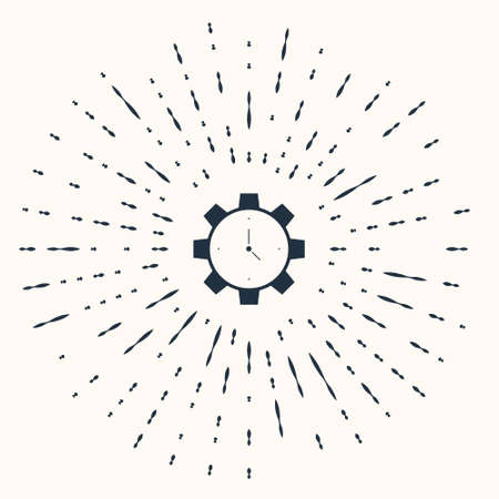 Grey Time Management icon isolated on beige background. Clock and gear sign. Productivity symbol. Abstract circle random dots. Vector