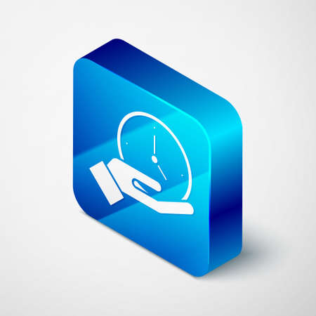 Isometric Clock icon isolated on grey background. Time symbol. Blue square button. Vector Ilustração