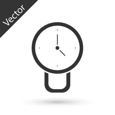 Grey Clock icon isolated on white background. Time symbol. Vector