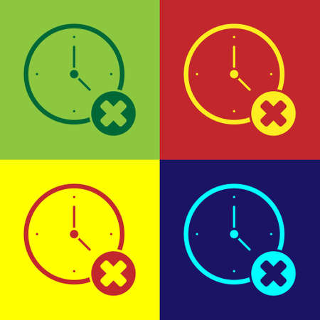 Pop art Clock delete icon isolated on color background. Time symbol. Vector