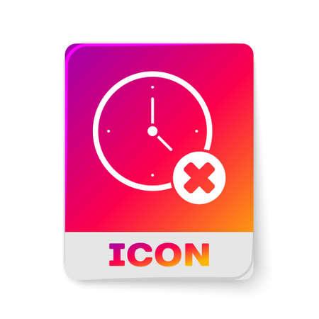 White Clock delete icon isolated on white background. Time symbol. Rectangle color button. Vector Ilustração