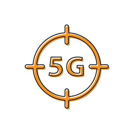 Orange 5G new wireless internet wifi connection icon isolated on white background. Global network high speed connection data rate technology. Vector