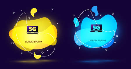 Black Laptop with 5G new wireless internet wifi icon isolated on black background. Global network high speed connection data rate technology. Abstract banner with liquid shapes. Vector