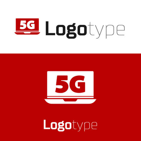 Red Laptop with 5G new wireless internet wifi icon isolated on white background. Global network high speed connection data rate technology. Logo design template element. Vector
