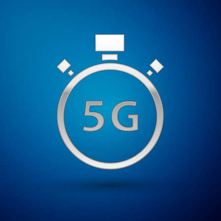 Silver Digital speed meter concept with 5G icon isolated on blue background. Global network high speed connection data rate technology. Vector