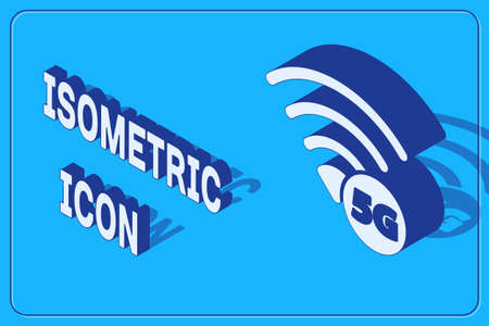 Isometric 5G new wireless internet wifi connection icon isolated on blue background. Global network high speed connection data rate technology. Vector