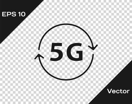 Black 5G new wireless internet wifi connection icon isolated on transparent background. Global network high speed connection data rate technology. Vector Illusztráció
