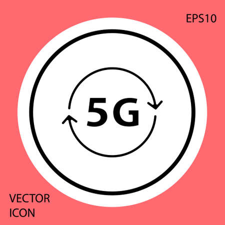 Black 5G new wireless internet wifi connection icon isolated on red background. Global network high speed connection data rate technology. White circle button. Vector
