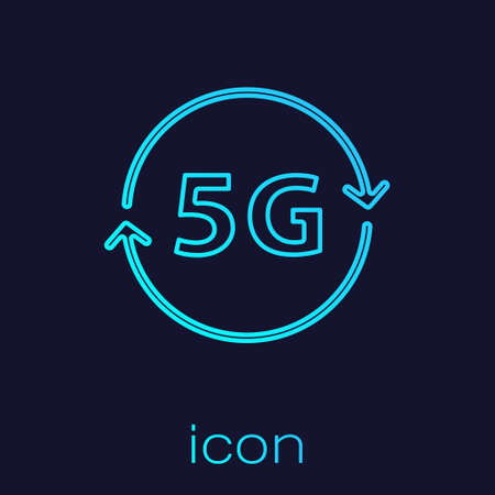 Turquoise line 5G new wireless internet wifi connection icon isolated on blue background. Global network high speed connection data rate technology. Vector