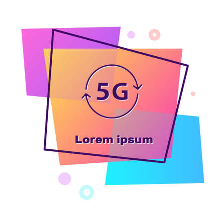 Purple 5G new wireless internet wifi connection icon isolated on white background. Global network high speed connection data rate technology. Color rectangle button. Vector