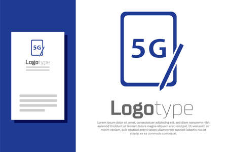 Blue Graphic tablet with 5G wireless internet wifi icon isolated on white background. Global network high speed connection data rate technology. Logo design template element. Vector