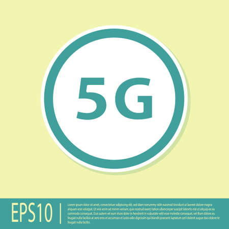 Green 5G new wireless internet wifi connection icon isolated on yellow background. Global network high speed connection data rate technology. Vector Illusztráció