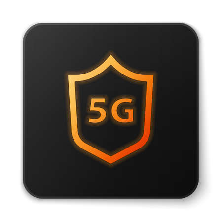 Orange glowing neon Protective shield 5G wireless internet wifi icon isolated on white background. Global network high speed connection data rate technology. Black square button. Vector