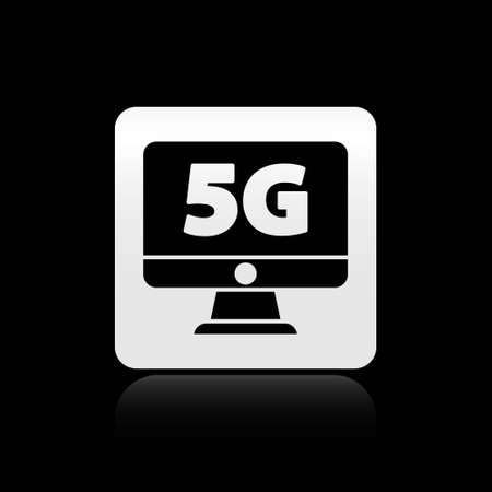 Black Monitor with 5G new wireless internet wifi icon isolated on black background. Global network high speed connection data rate technology. Silver square button. Vector Illusztráció