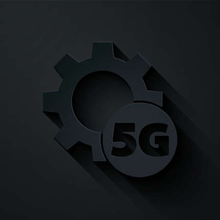 Paper cut Setting 5G new wireless internet wifi connection icon isolated on black background. Global network high speed connection data rate technology. Paper art style. Vector