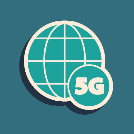 Green 5G new wireless internet wifi connection icon isolated on green background. Global network high speed connection data rate technology. Long shadow style. Vector Illusztráció