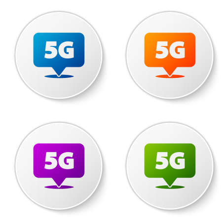 Color Location 5G new wireless internet wifi connection icon isolated on white background. Global network high speed connection data rate technology. Set icons in circle buttons. Vector