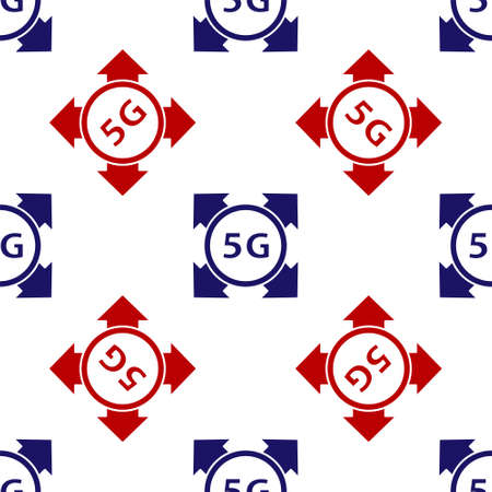 Blue and red 5G new wireless internet wifi connection icon isolated seamless pattern on white background. Global network high speed connection data rate technology. Vector