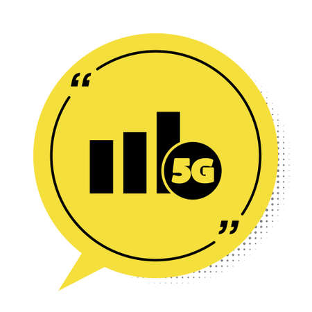 Black 5G new wireless internet wifi connection icon isolated on white background. Global network high speed connection data rate technology. Yellow speech bubble symbol. Vector Illusztráció