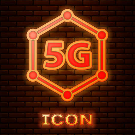 Glowing neon 5G new wireless internet wifi connection icon isolated on brick wall background. Global network high speed connection data rate technology. Vector Illusztráció