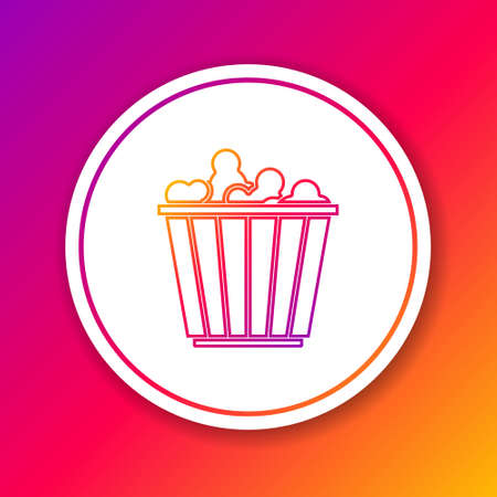 Color line Popcorn in cardboard box icon isolated on color background. Popcorn bucket box. Circle white button. Vector