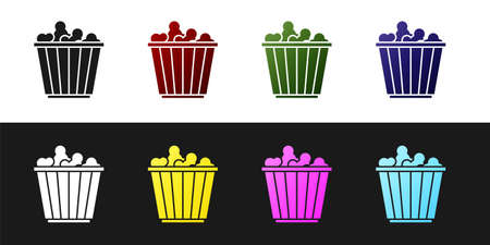 Set Popcorn in cardboard box icon isolated on black and white background. Popcorn bucket box. Vector Ilustração
