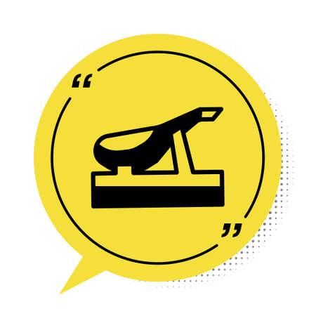 Black Spanish jamon on the wooden jamonera icon isolated on white background. Yellow speech bubble symbol. Vector