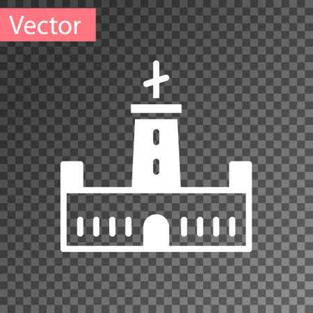 White Montjuic castle icon isolated on transparent background. Barcelona, Spain. Vector 向量圖像