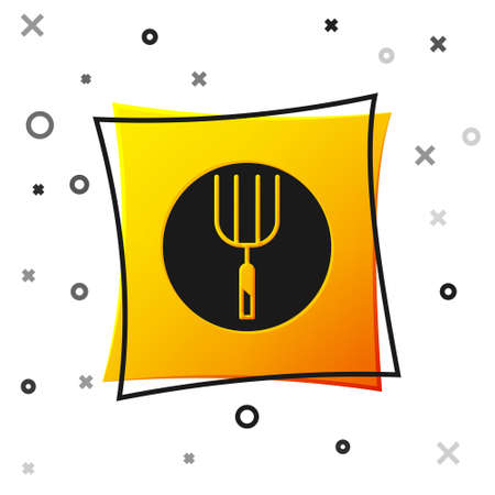 Black Garden pitchfork icon isolated on white background. Garden fork sign. Tool for horticulture, agriculture, farming. Yellow square button. Vector