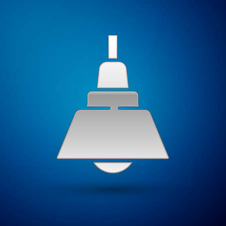 Silver Chandelier icon isolated on blue background. Vector