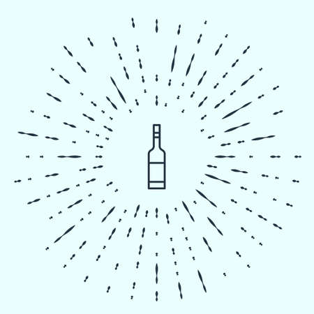 Black line Glass bottle of vodka icon isolated on grey background. Abstract circle random dots. Vector