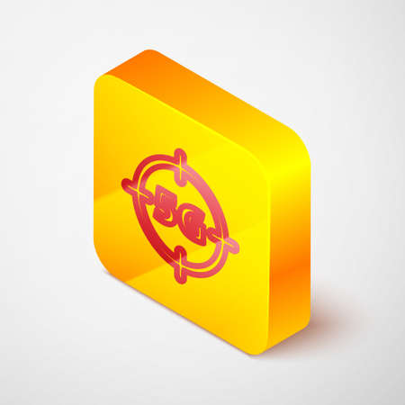 Isometric line 5G new wireless internet wifi connection icon isolated on grey background. Global network high speed connection data rate technology. Yellow square button. Vector