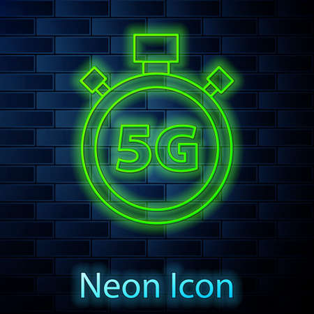Glowing neon line Digital speed meter concept with 5G icon isolated on brick wall background. Global network high speed connection data rate technology. Vector Illusztráció